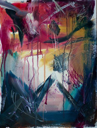 Rot und weiß und gelb und blau in chaotischem Tanz umeinander. Abstraktes Gemälde in Acryl, ABstrakter Expressionismus.