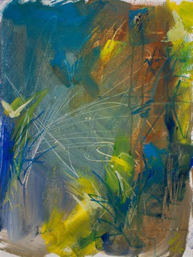 Ein abstraktes Gemälde in Türkis und Gelb und Ocker. Es ist ausgeglichen bewegt, wirkt eher ruhig. Kratzer und MArkerspuren sind auf ihm zu sehen.