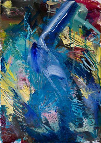 Ein abstraktes Bild in Blau und Gelb. Viel Bewegung, chaotisch.