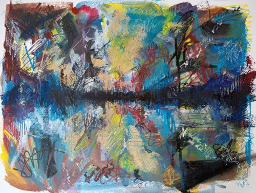 Ein wildes Bild, das an weit entfernte Berge hinter einem See erinnert. Alles ist voller Schriftzeichen, Tags, Graffiti-Kritzeln.