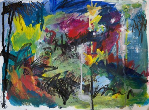 Ein absurd buntes abstraktes Gemälde.