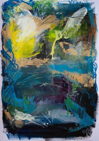 Abstraktes Gemälde in Himmelblau mit gelben und weißen und goldenen Akzenten. Es wirkt wie ein See, über dem Formen schweben.