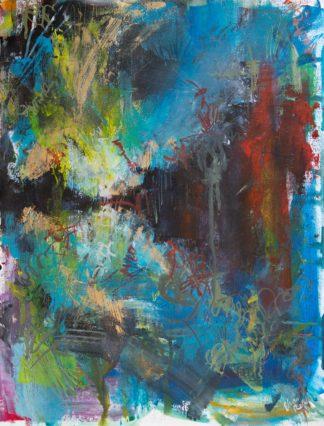 Ein abstraktes Gemälde auf ungespannter Leinwand. Es zeigt sehr abstrakt einen Sonnenaufgang über einer spiegelnden Seenlandschaft. Der Stil ist wild, erinnert an Graffiti und Street Art.