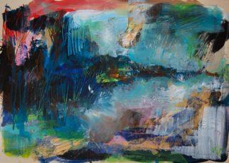 Ein abstraktes Gemälde, das an ein nebeliges Flussufer erinnert. Die Farben sind stark, es dominieren Türkis und dunkle Blaus, kontrastiert von grün und gold und rot.