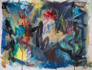Ein wildes abstraktes Bild voller gesturaler Energie. Blau und schwarz dominieren, rot und gold runden ab. Es erinnert an graffiti.