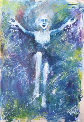 """Tarot Card Painting: Urban Abstraction Tarot Painting """"The High Priestess"""""""