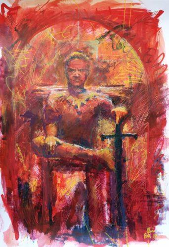"Tarot Card Painting: Urban Abstraction Tarot Painting ""The Emperor"""