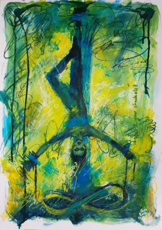 "Tarot Card Painting: Urban Abstraction Tarot Painting ""The Hanged Man"""
