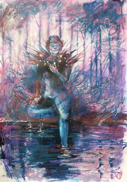 "Tarot Card Painting: Urban Abstraction Tarot Painting ""The Star"""