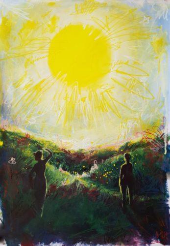 "Tarot Card Painting: Urban Abstraction Tarot Painting ""The Sun"""
